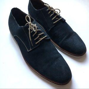 Aston Grey Dien Dark Blue Suede Oxford Shoes